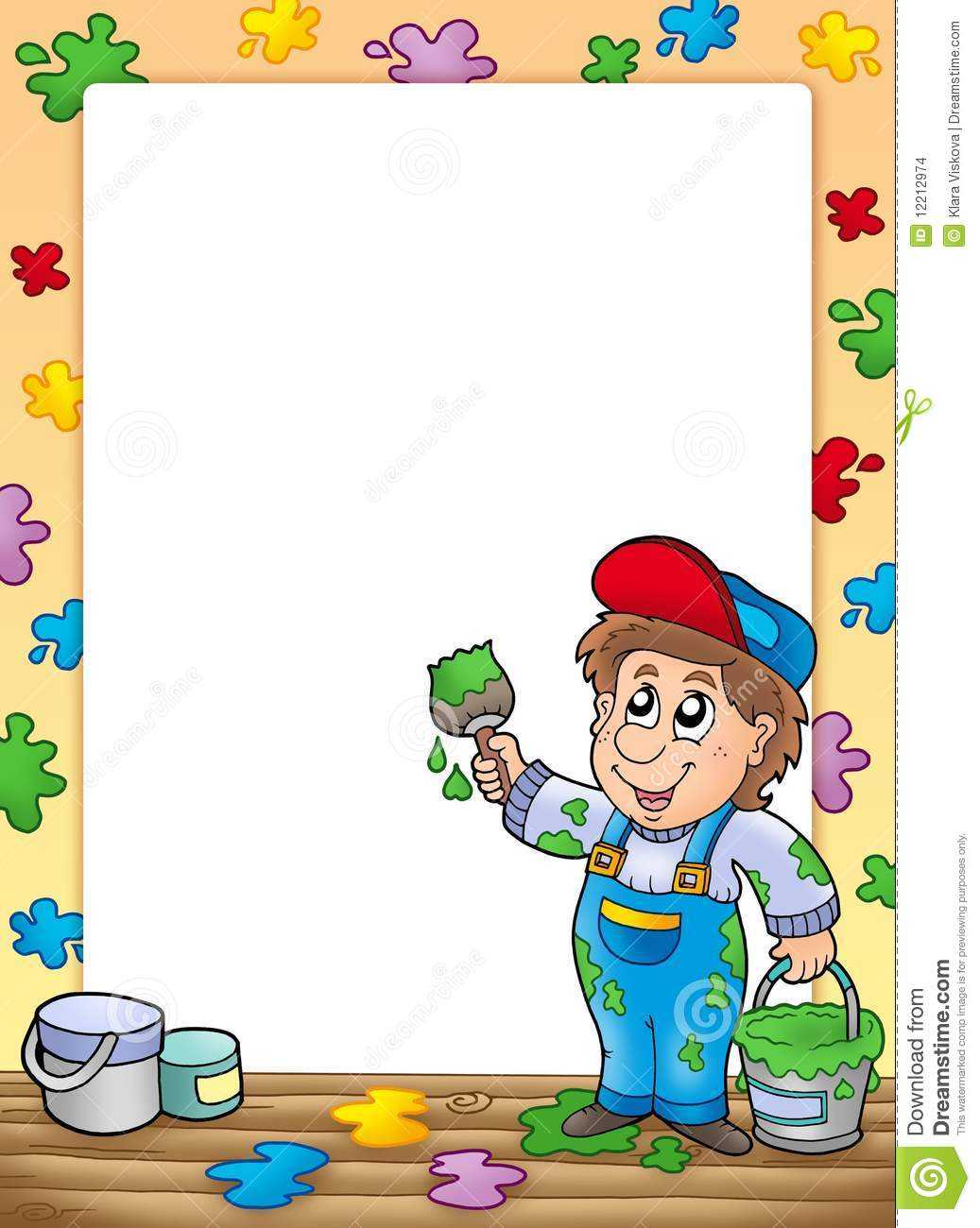 Frame With Cartoon House Painter Stock Images Image 12212974