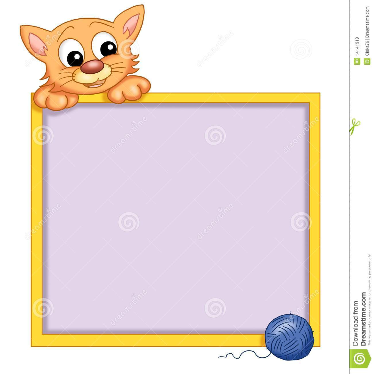 digital illustration of a frame with a nice cat that wants his ball