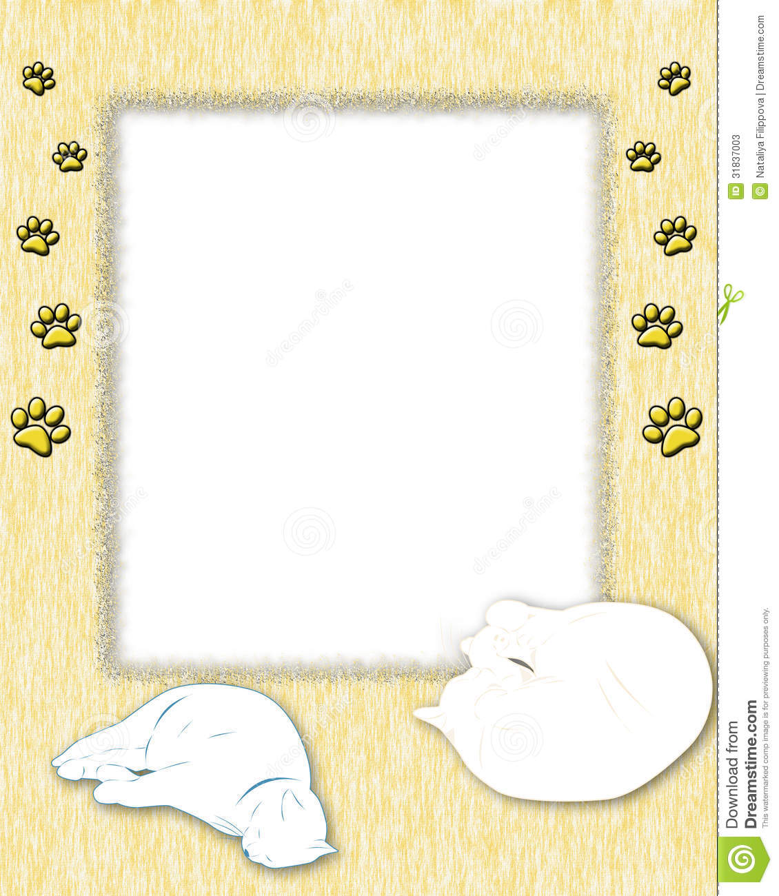 yellow frame with texture with two cats and cat footprints