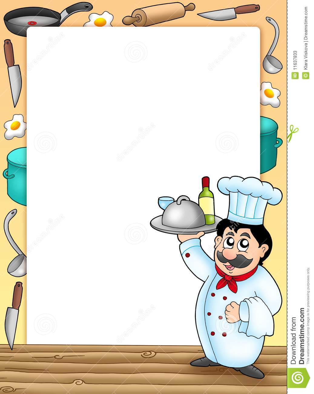 Frame With Chef Holding Meal Stock Illustration