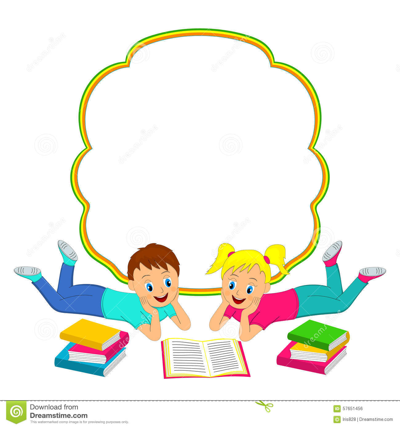 School Book Cover Vector : Frame with children boy and girl reading a book stock