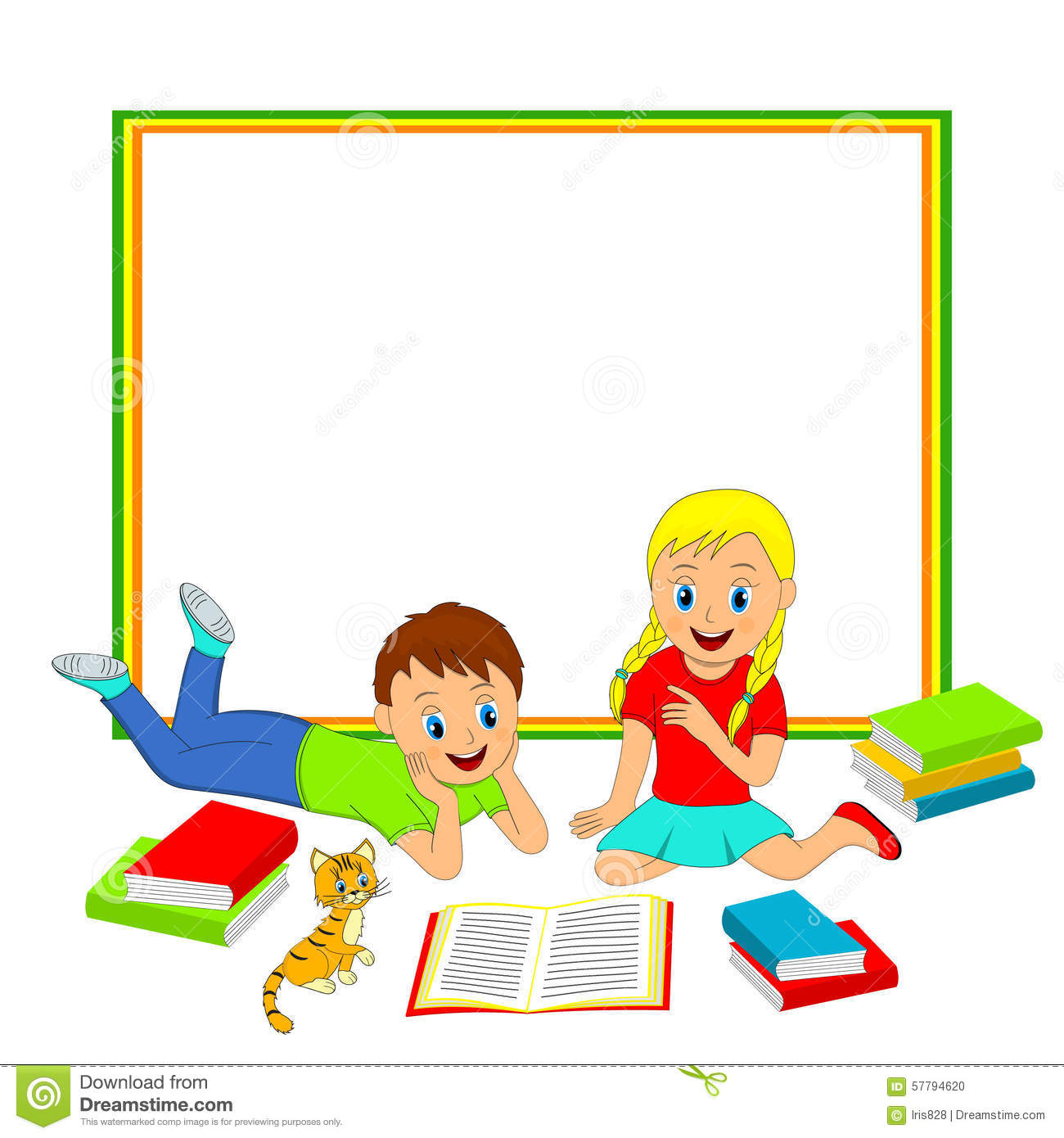 Frame With Children Boy And Girl Reading A Book Stock Vector