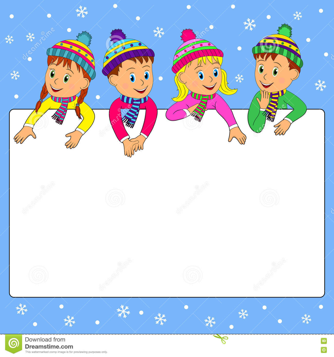 Frame With Children On A Winter Background Stock Vector