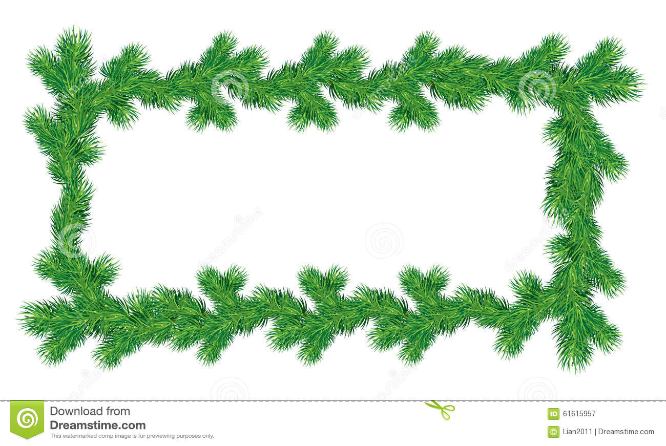 Frame of christmas fir tree branches in rectangular shape