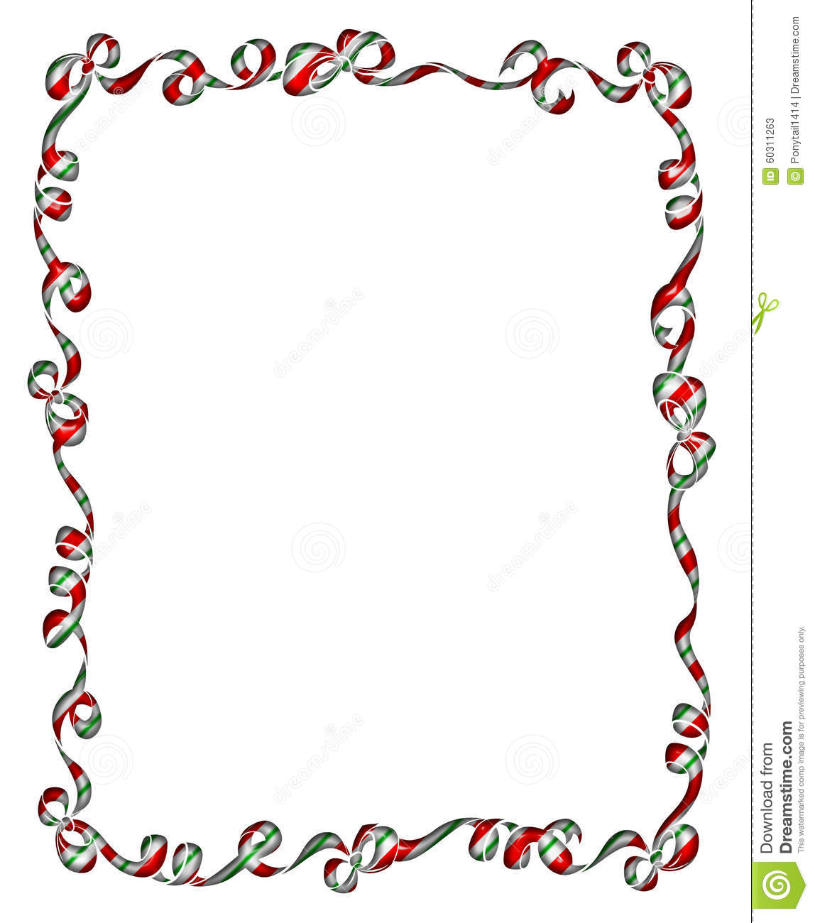 Frame of christmas ribbons and bows stock illustration