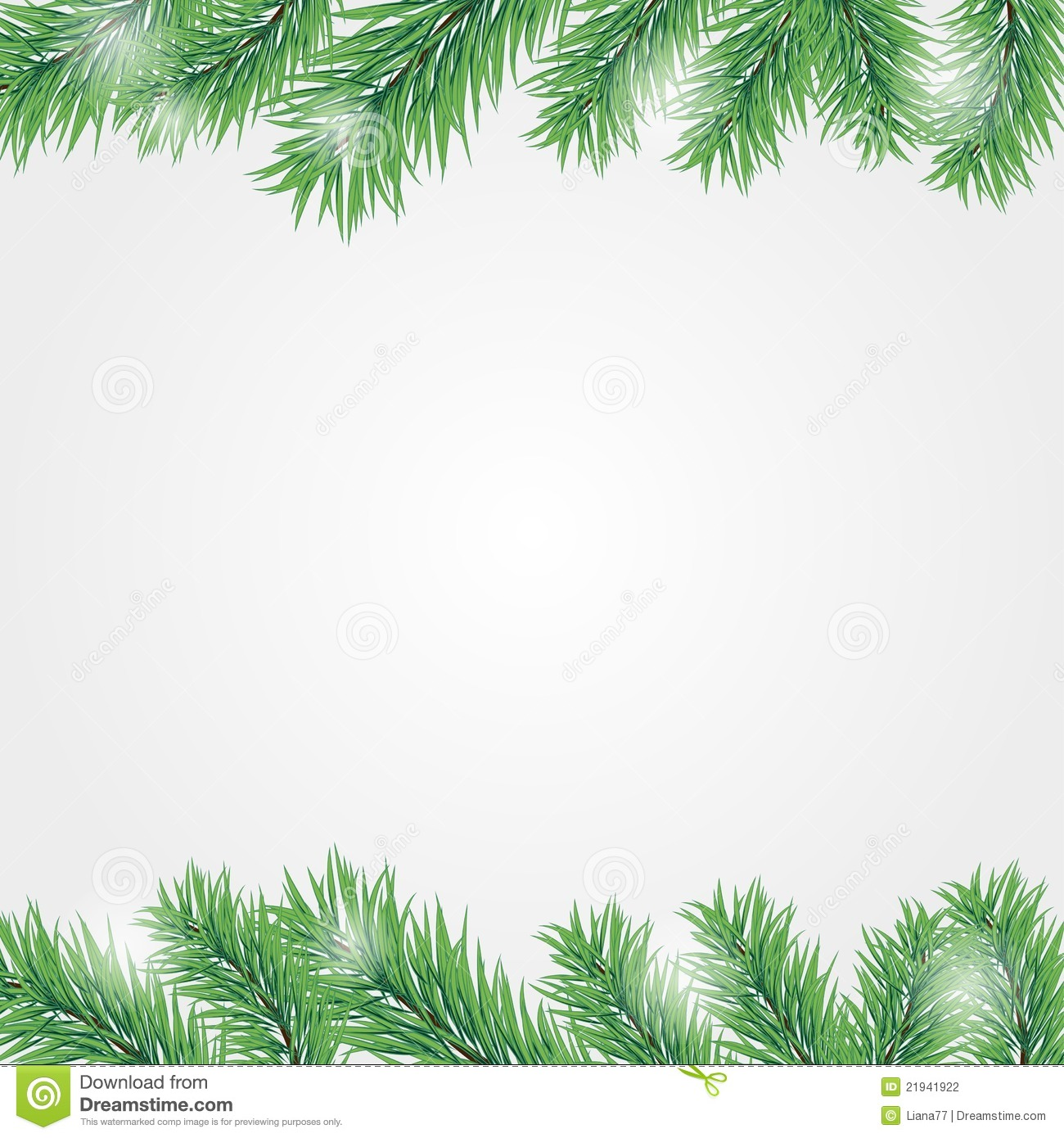 Frame With Christmas Tree Branch Stock Photography - Image: 21941922