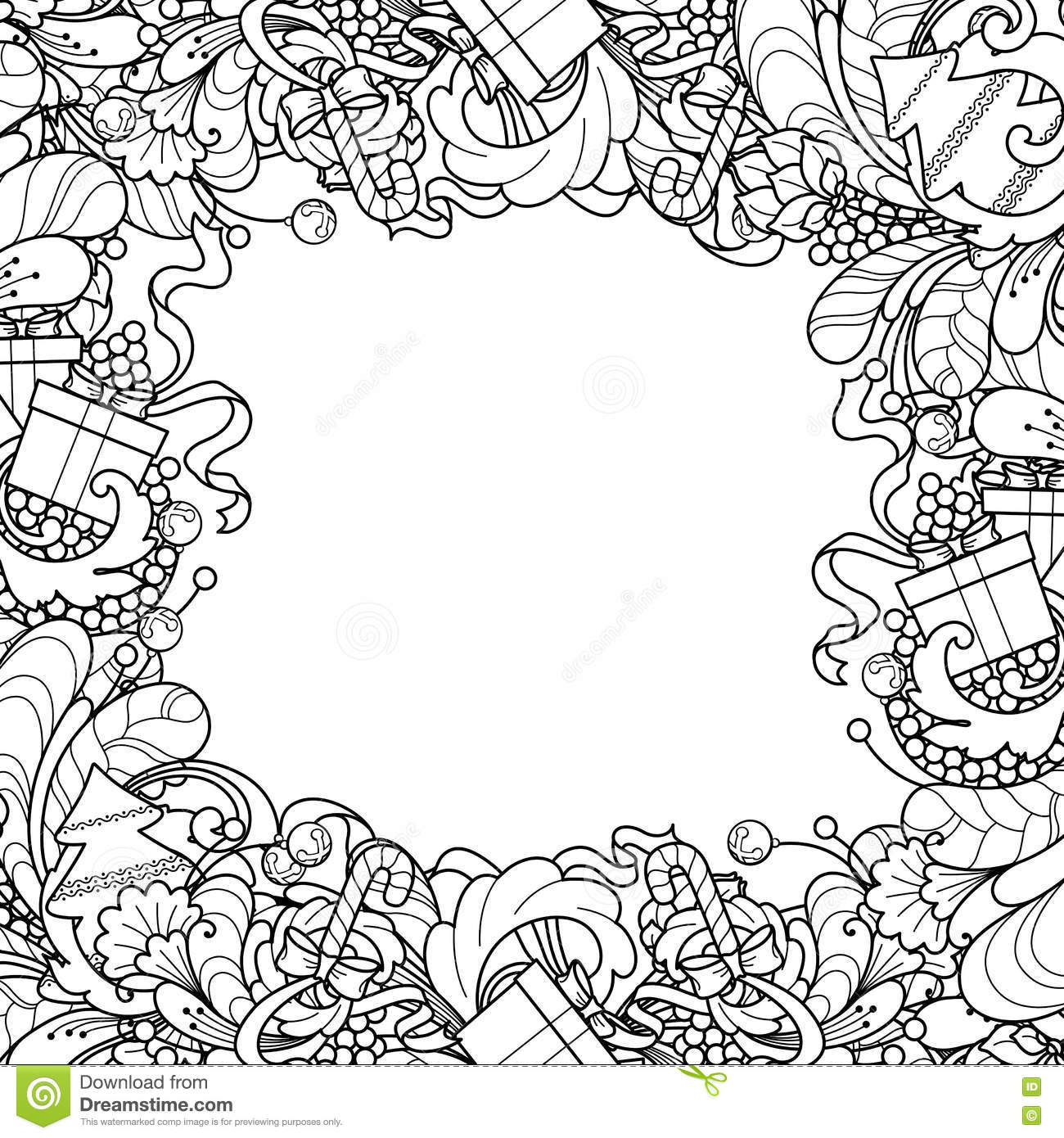 Frame With Christmas Tree Gift Box Bells In Doodle Styl