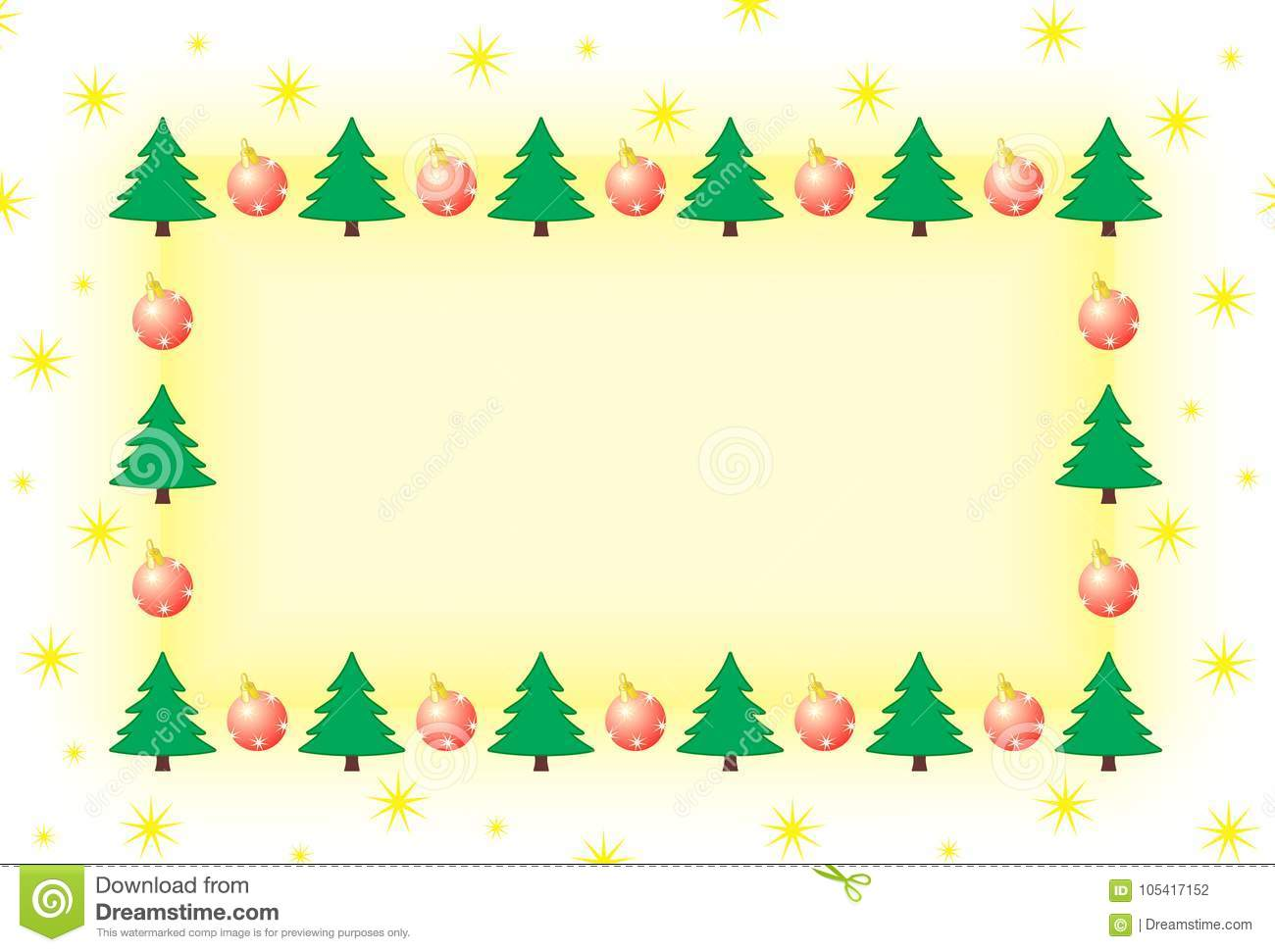 Frame With Christmas Tree And Ornaments Stock Illustration