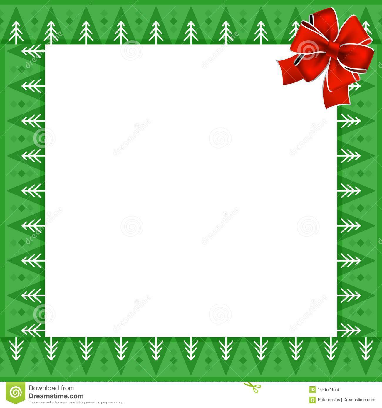 Frame with Christmas trees pattern on green background and festive red bow