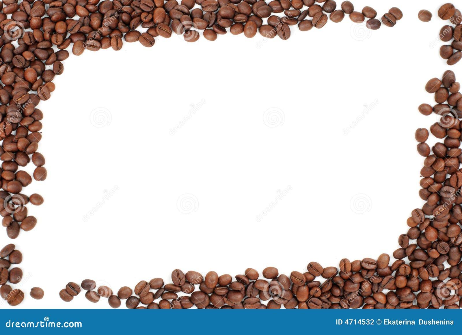 Coffee Bean Border ~ Frame of coffee beans on white stock photo image