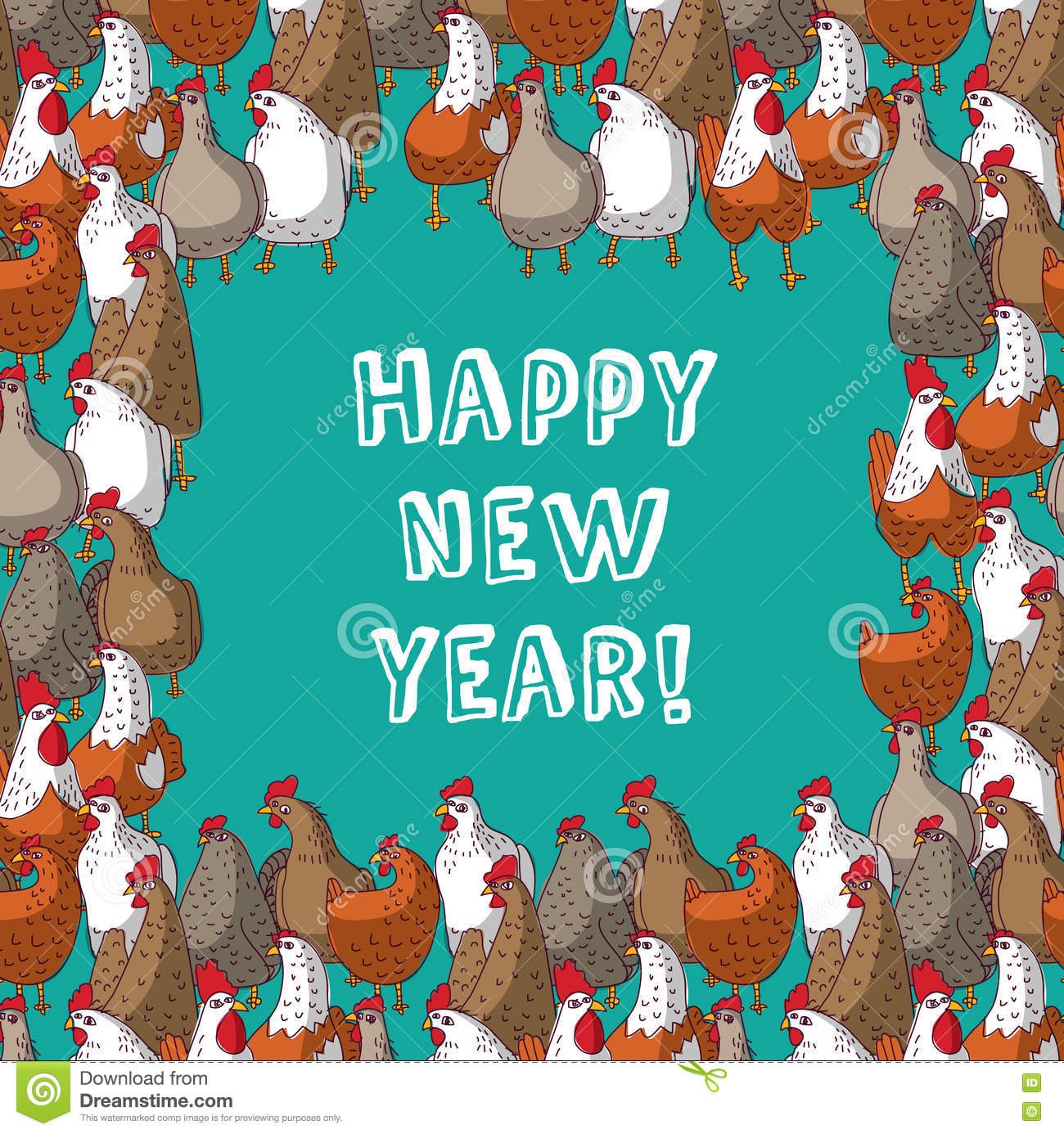 Chicken border frame card stock illustration illustration of frame color chicken border new year greeting card royalty free stock photography kristyandbryce Gallery