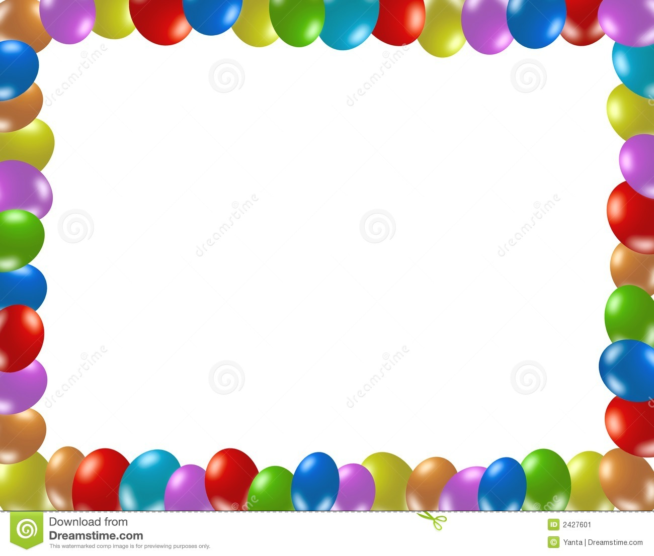 Frame of colorful balloons stock illustration. Illustration of ...