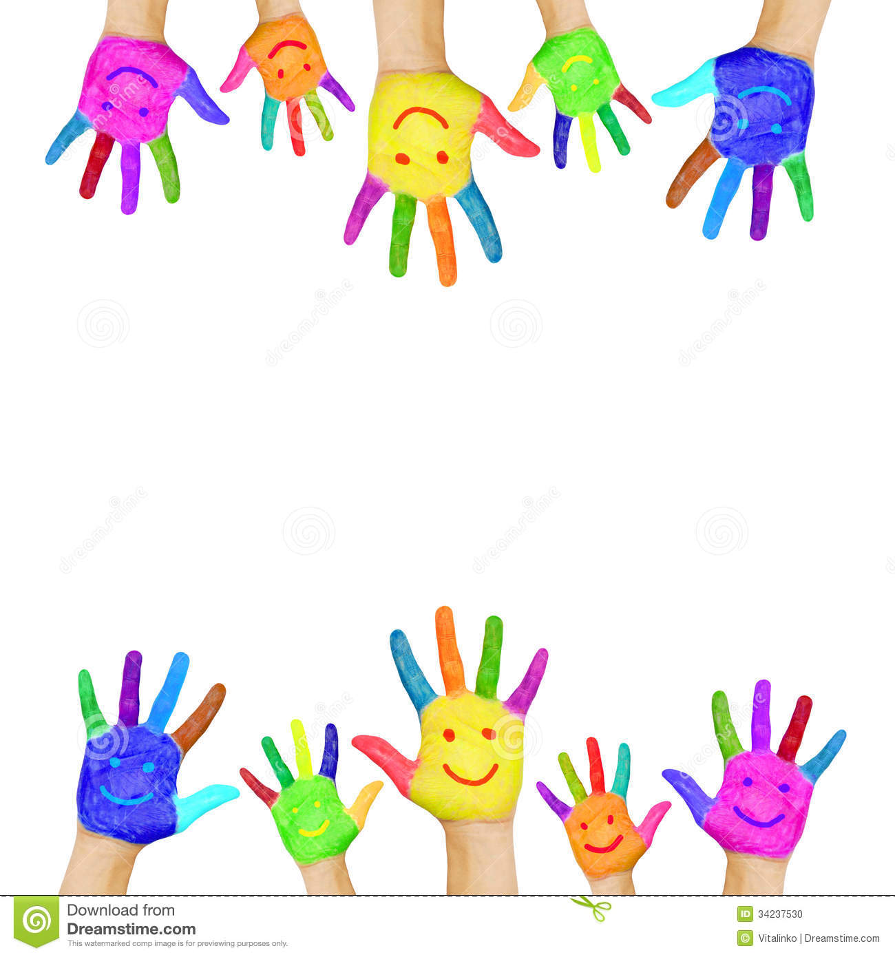 Frame of colorful hands painted with smiling faces. Fun, joy ...