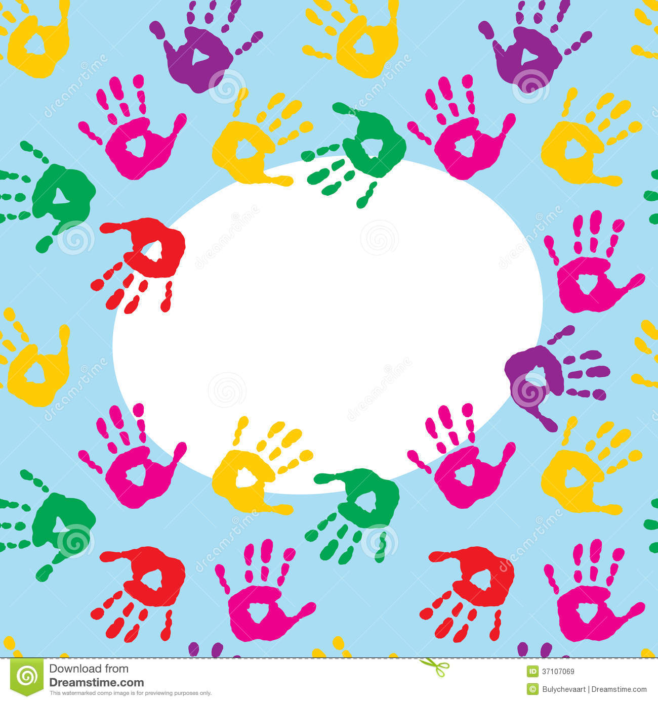 Frame with colorful prints of childrens hands