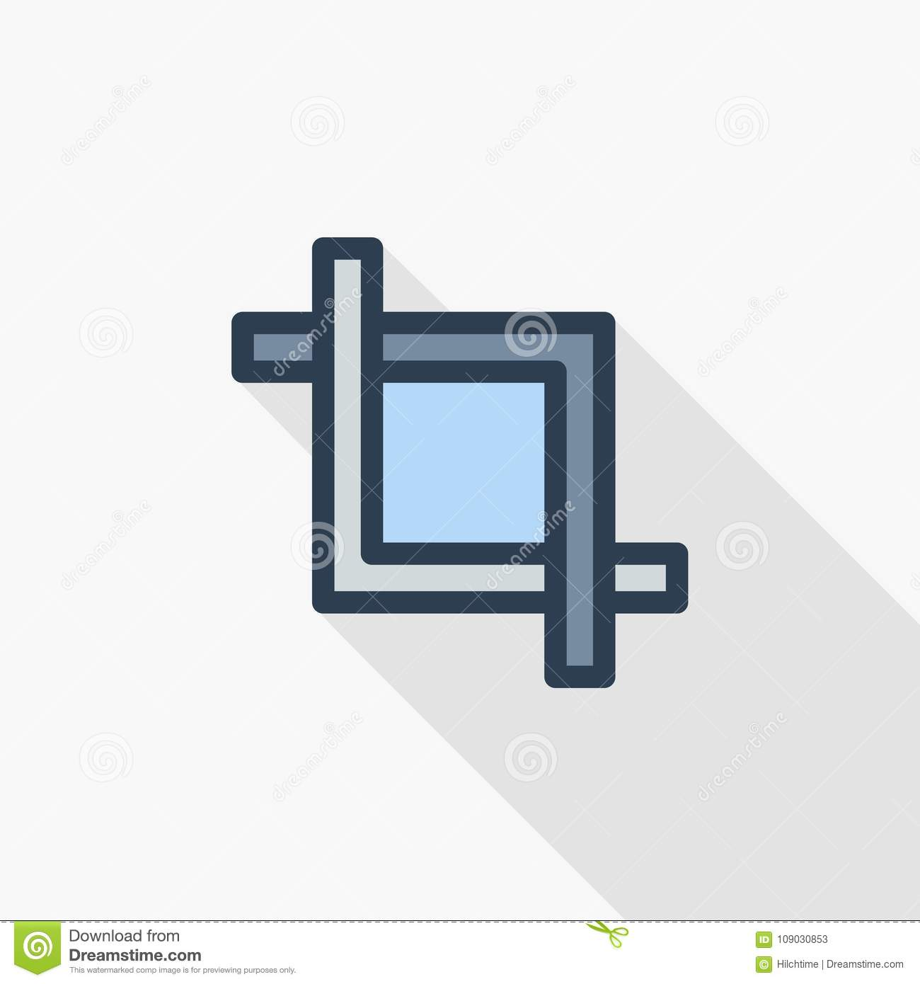 Frame Cut, Clip, Photo Or Video Editing Thin Line Flat Color Icon ...