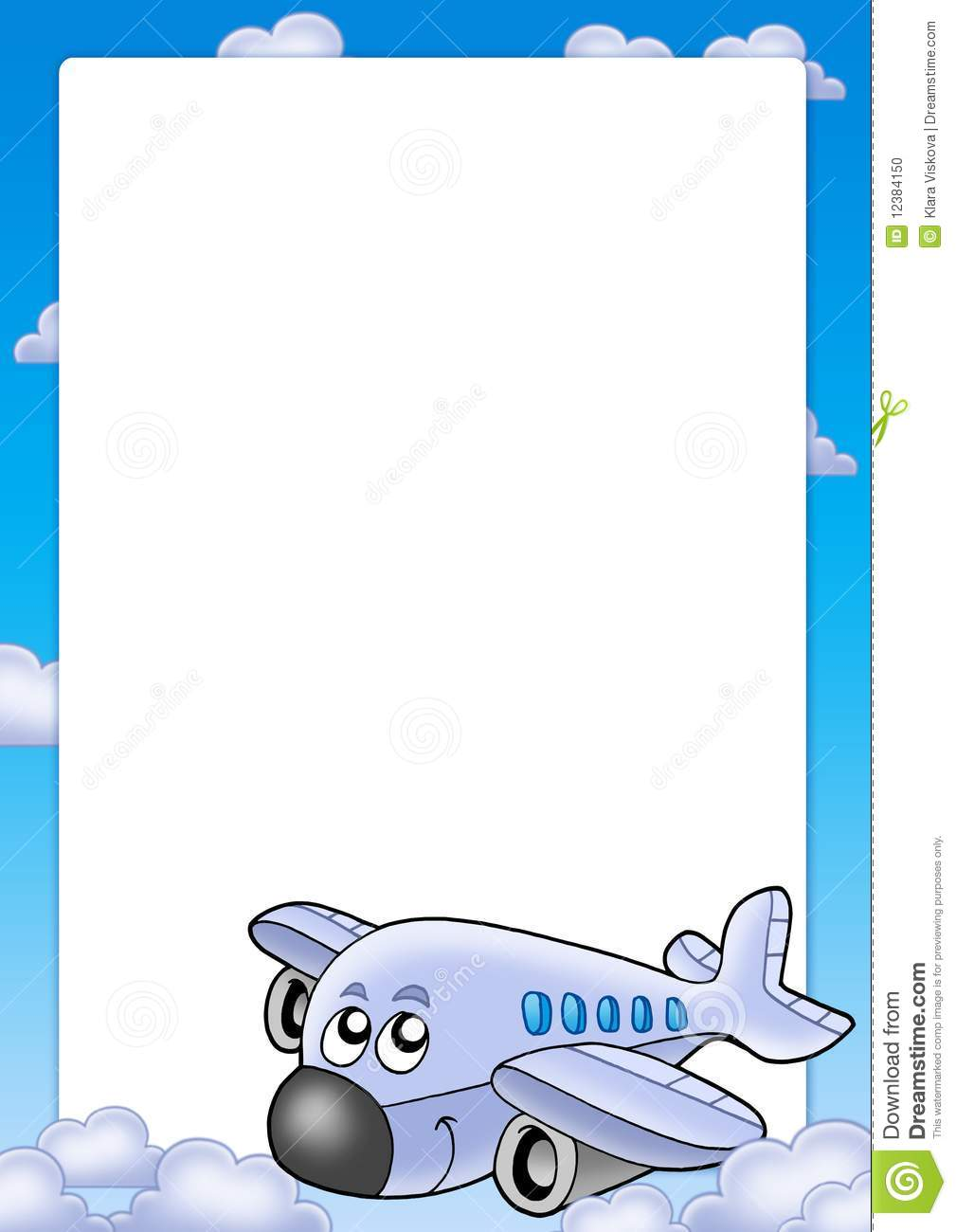 Frame With Cute Airplane And Clouds Stock Photo Image 12384150