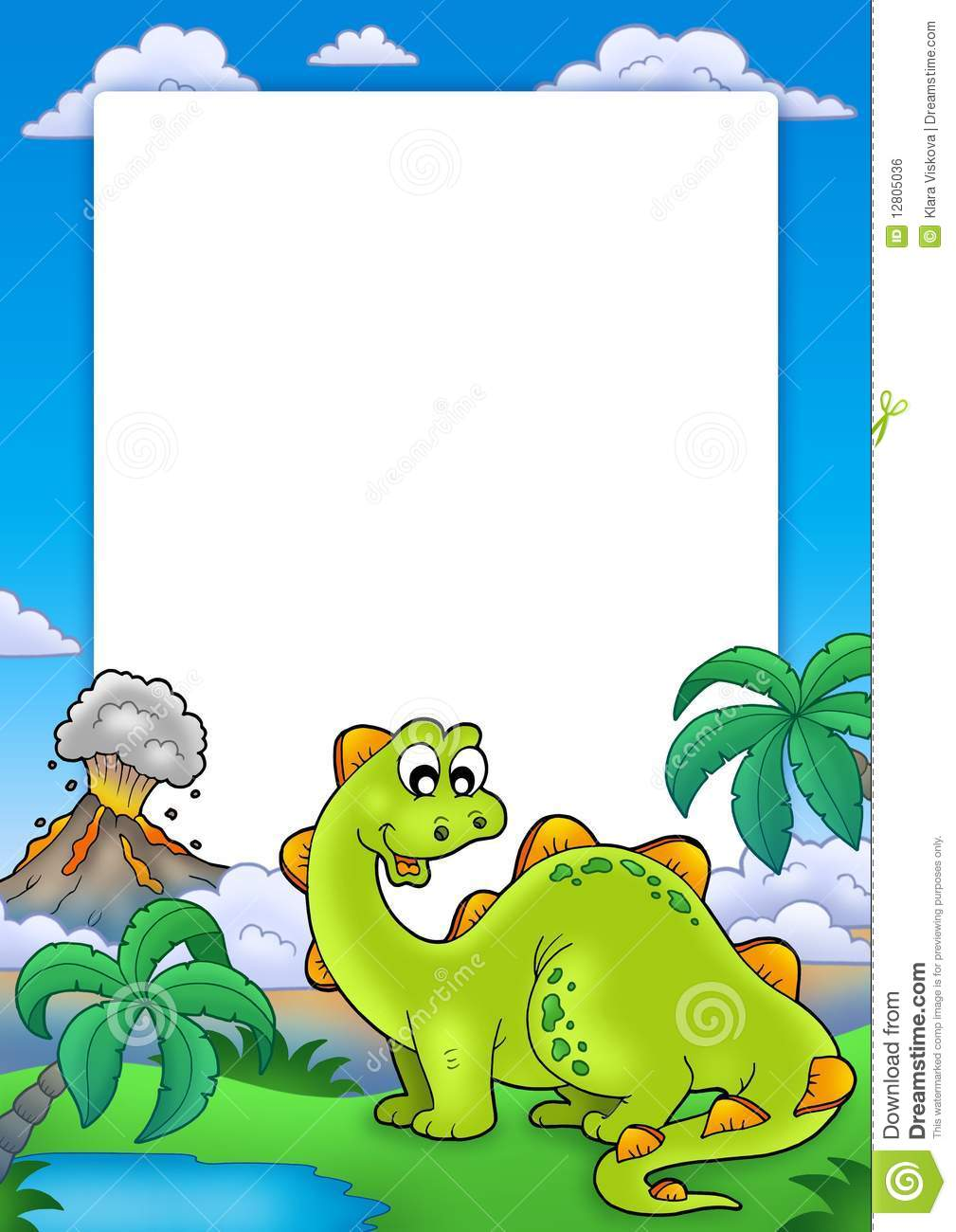 Frame With Cute Dinosaur Royalty Free Stock Image - Image: 12805036