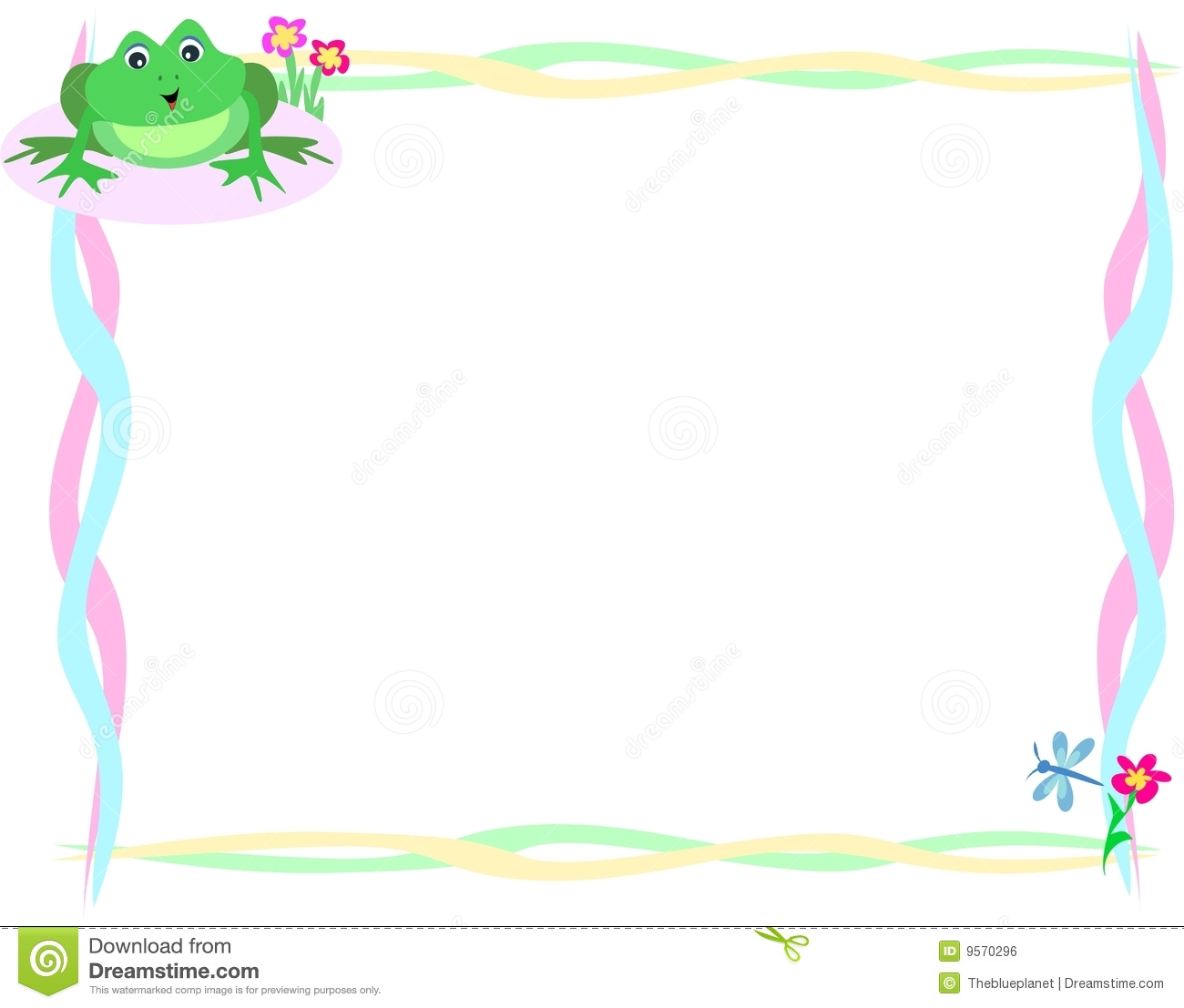 Frame Of Cute Frog And Dragonfly Royalty Free Stock Image