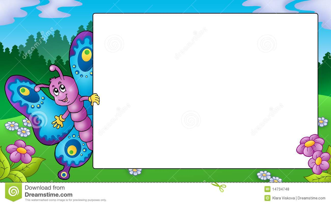 Frame With Cute Lurking Butterfly Stock Illustration - Illustration ...