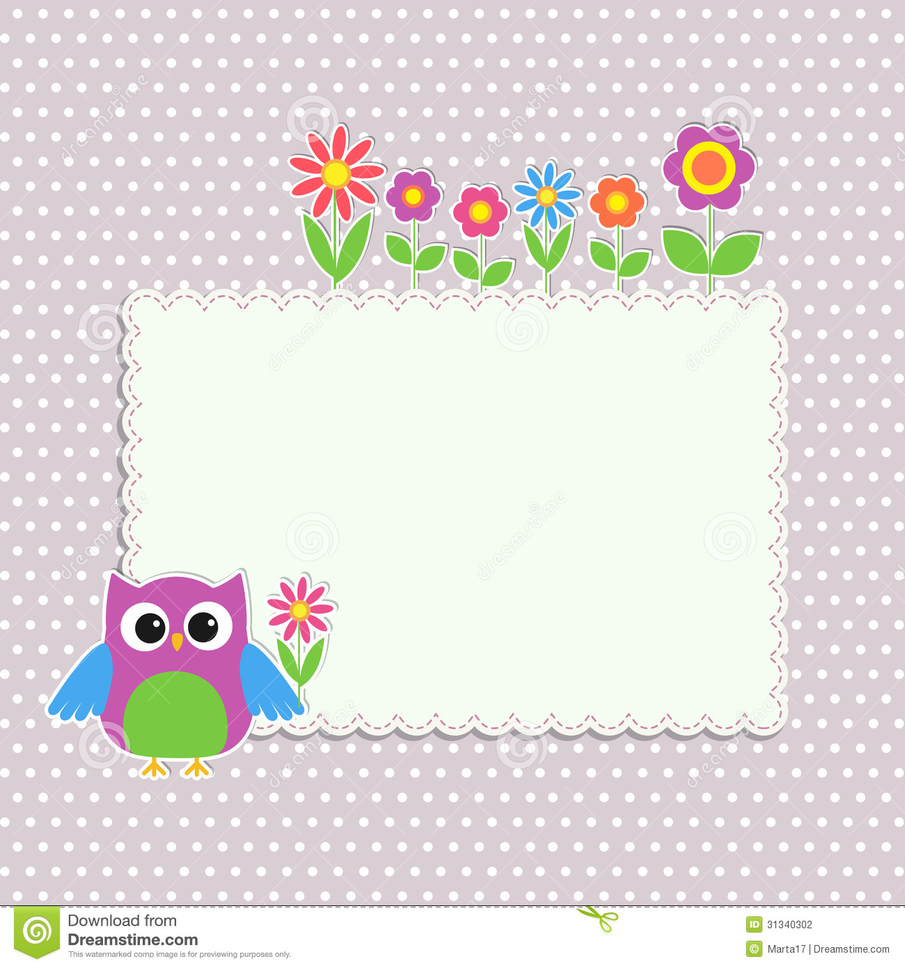 Frame With Cute Owl Stock Vector Illustration Of Ornament