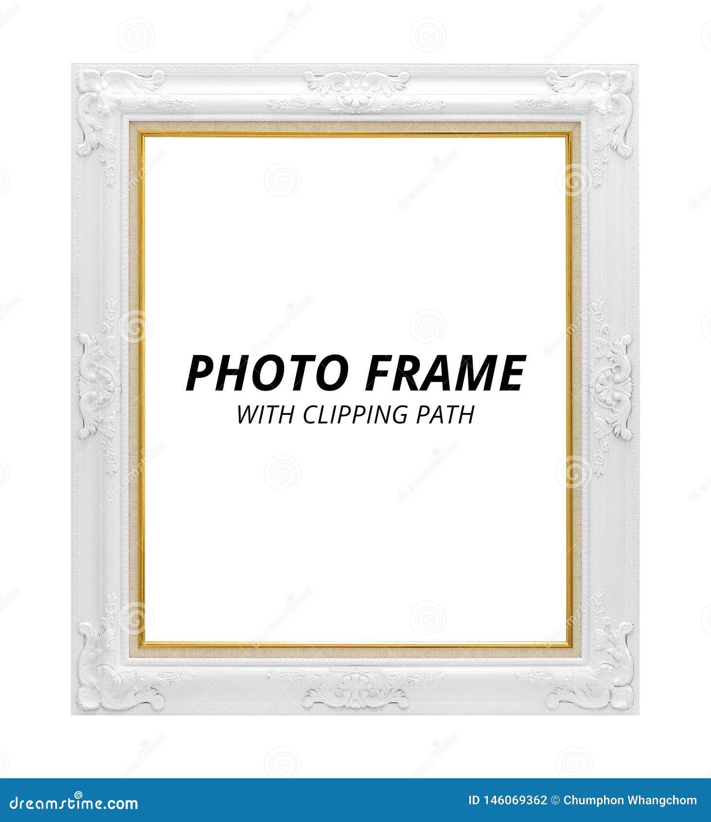 Frame da foto do vintage isolado no fundo branco Quadro vazio no estilo clássico Trajeto de grampeamento