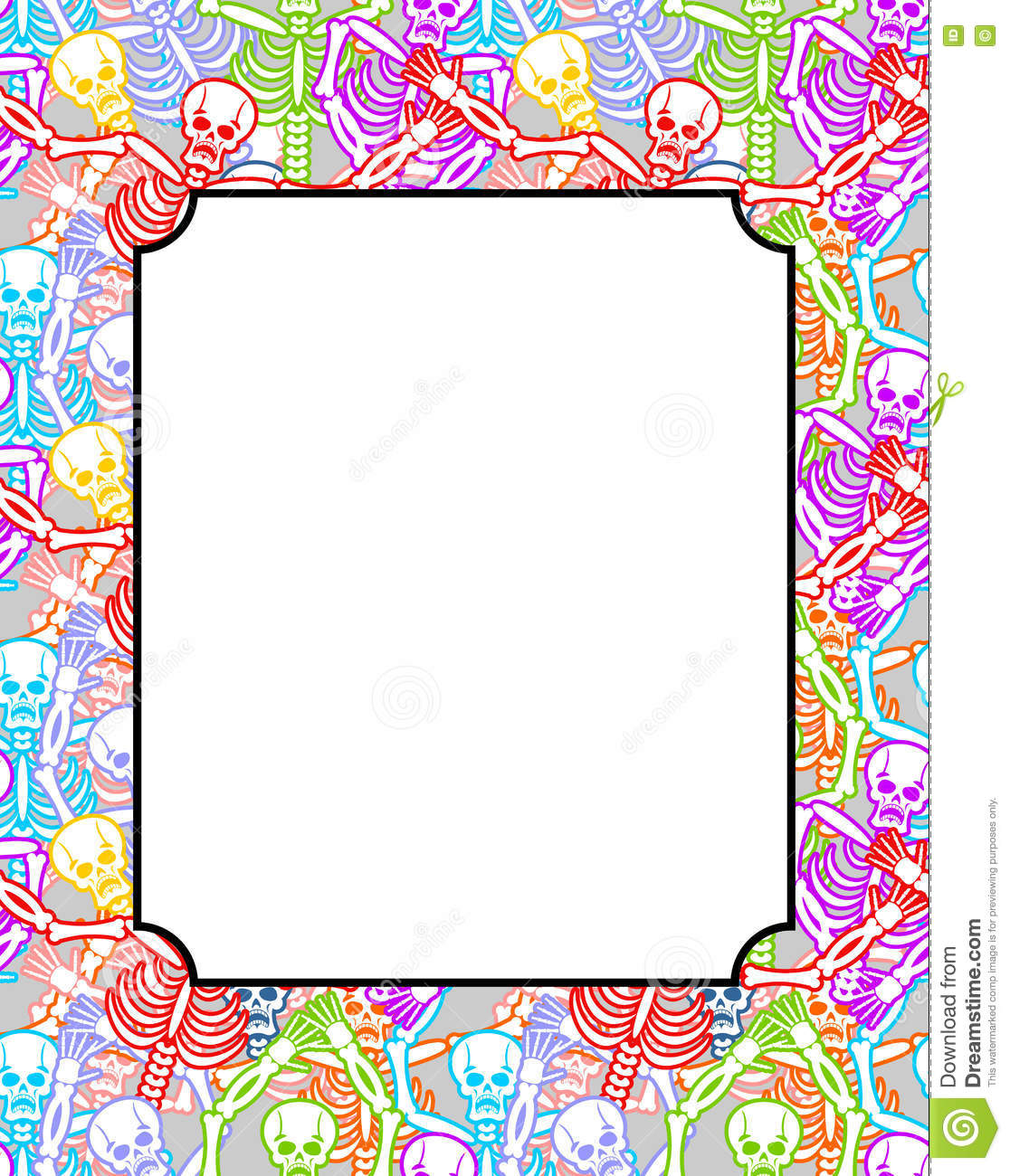 Frame For Day Of The Dead Multicolored Skeletons Color Skull