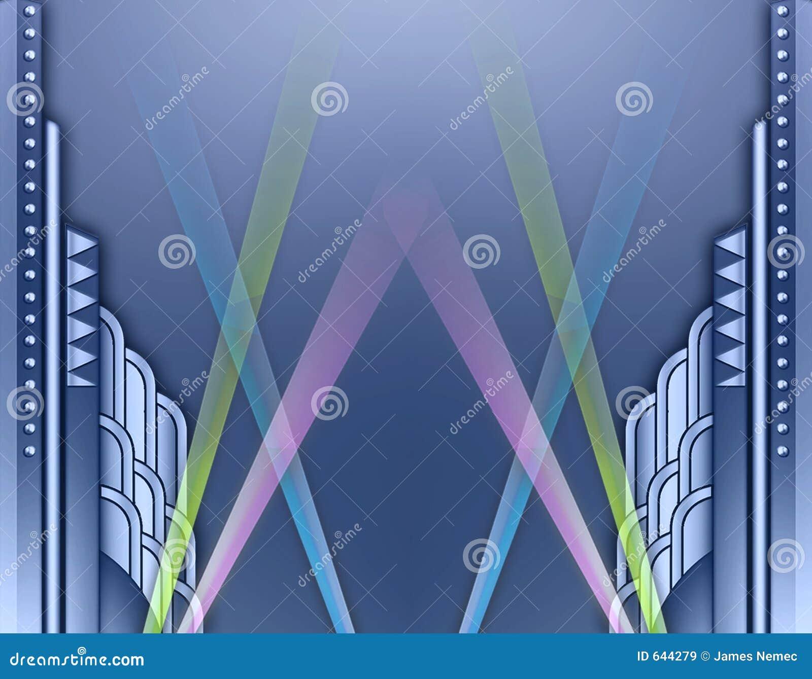 Frame de edifício w/spotlights do art deco