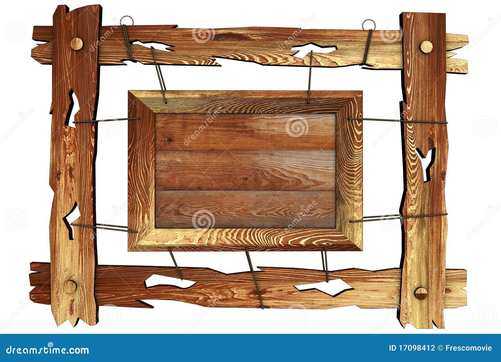 Frame de madeira velho com corda