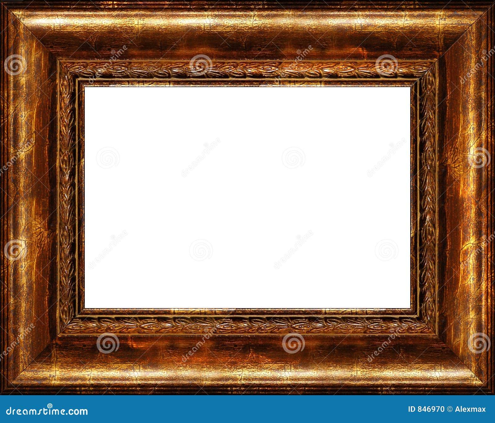 Frame de retrato dourado escuro rústico antigo isolado