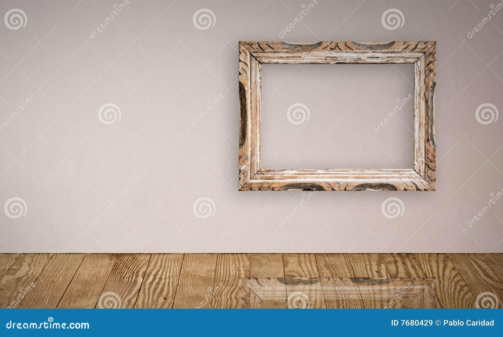 Frame de retrato na parede velha.