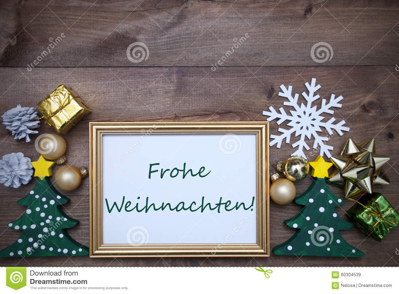 Frame With Decoration, Frohe Weihnachten Mean Merry Christmas Stock ...