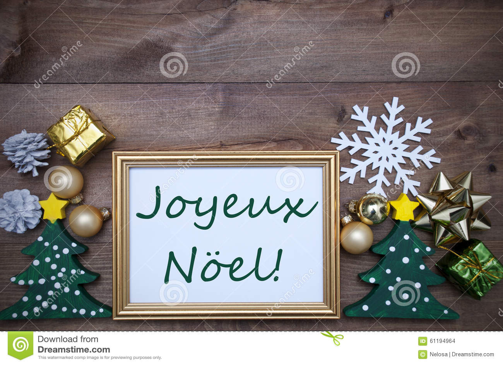 Frame With Decoration, Joyeux Noel Mean Merry Christmas Stock Photo ...