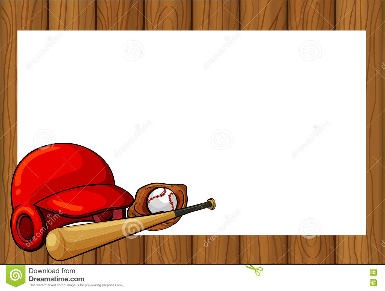 frame design with baseball equipments stock photo