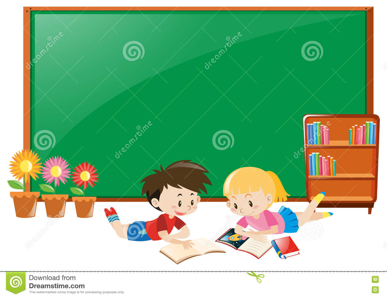 Frame Design With Boy And Girl Reading Books Stock Vector