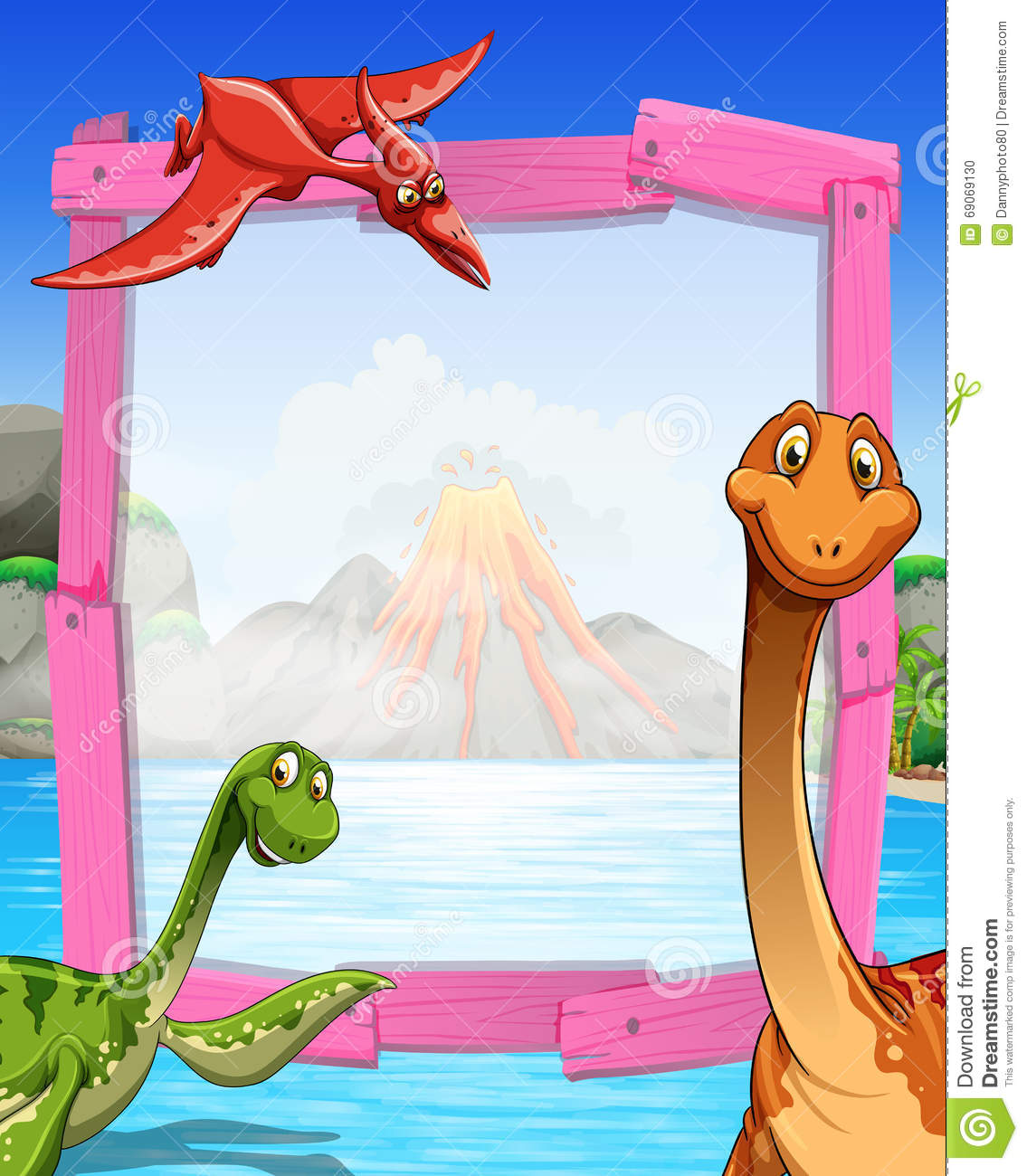 frame design with dinosaurs at the lake