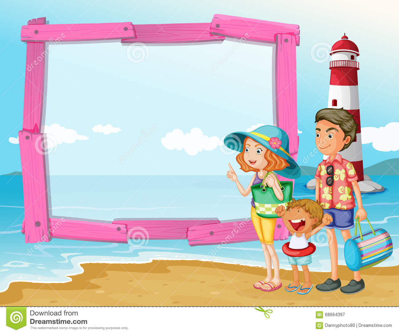 Frame design with family trip on the beach stock vector for Family picture design