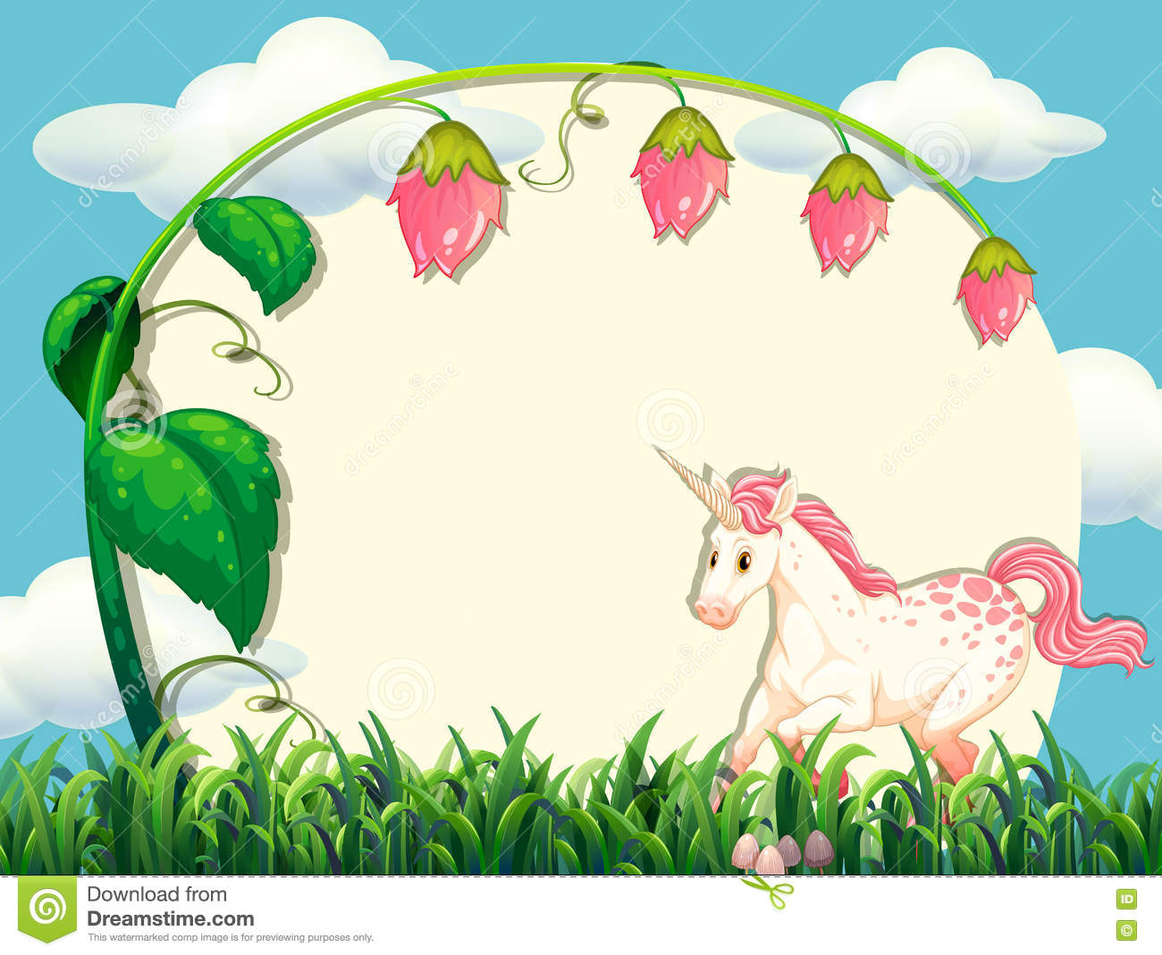 Frame Design With Flower And Unicorn
