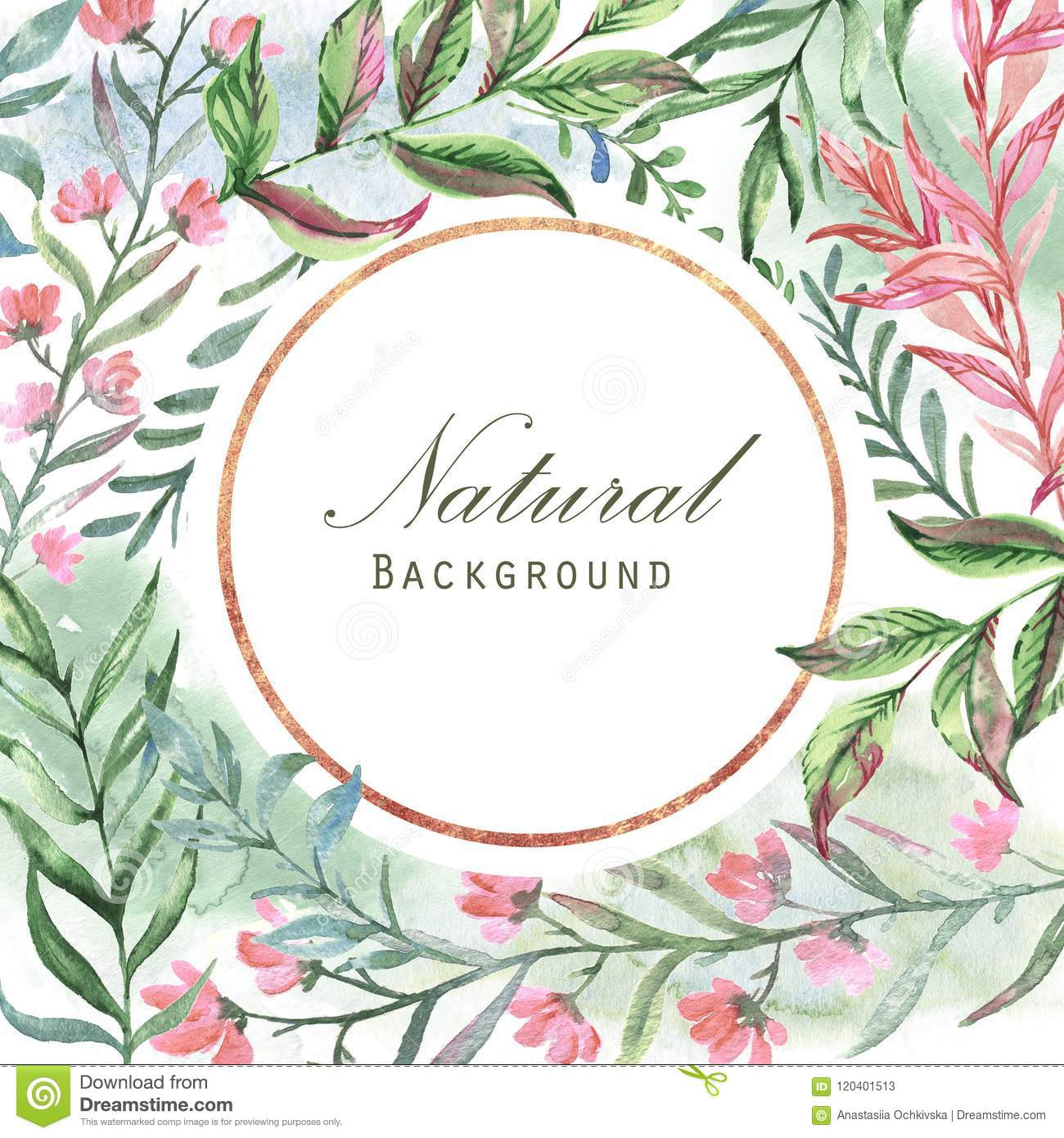 photo regarding Watercolor Floral Border Paper Printable identify Body Style and design With Leaves, Vegetation, Bouquets And Geometric