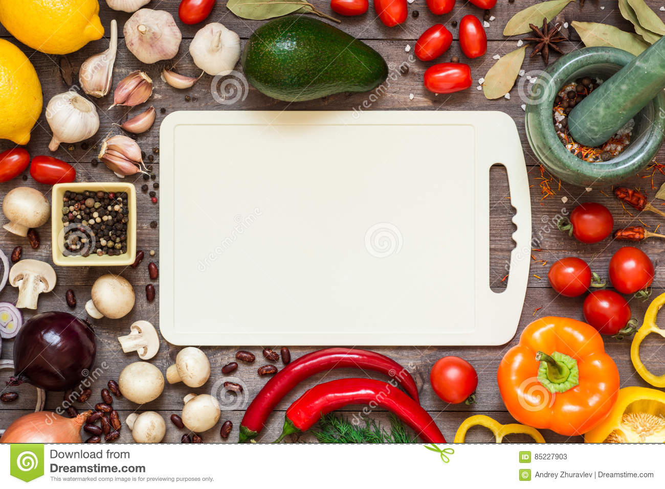 Frame Of Different Fresh Organic Vegetables And Spices On ...