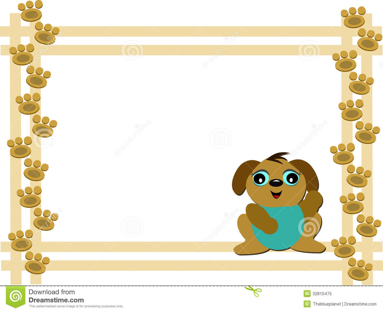 Frame Of Dog And Paw Prints Stock Vector Illustration Of Face