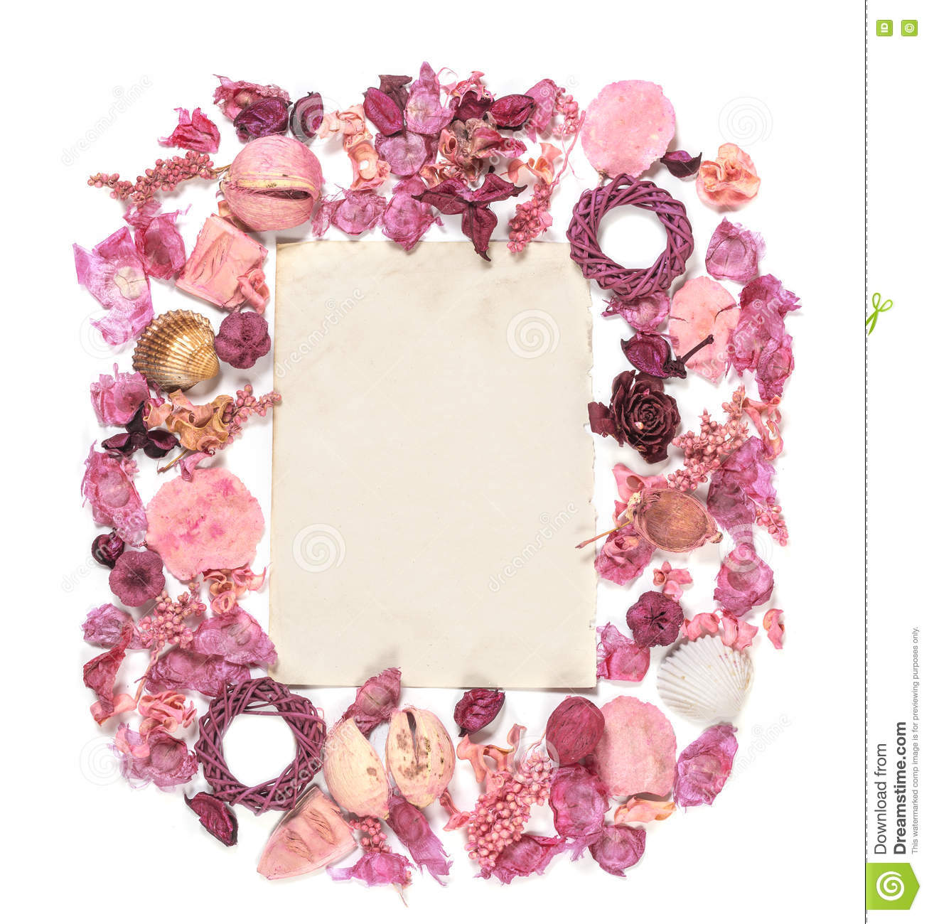 Frame With Dried Flowers Old Paper Isolated On White Backgroun Stock