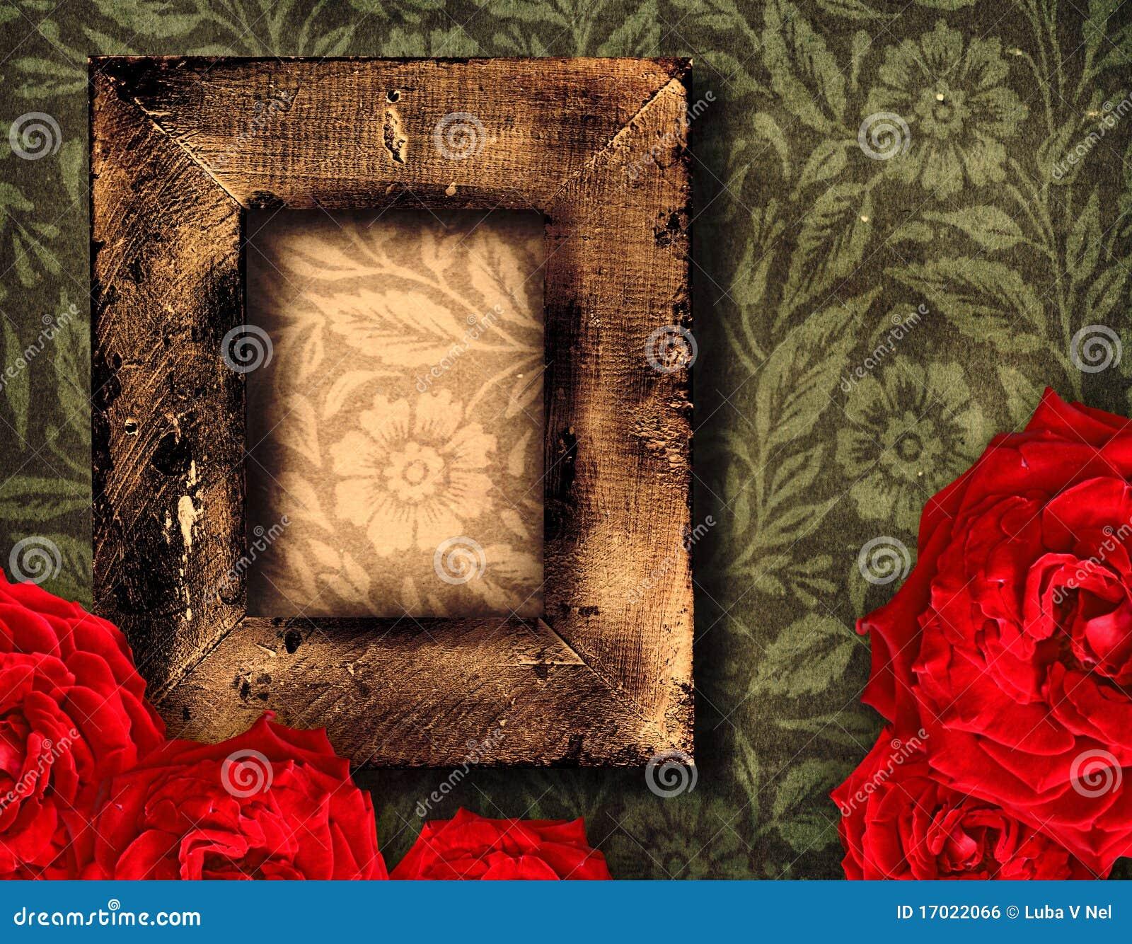 Frame e rosas de Grunge