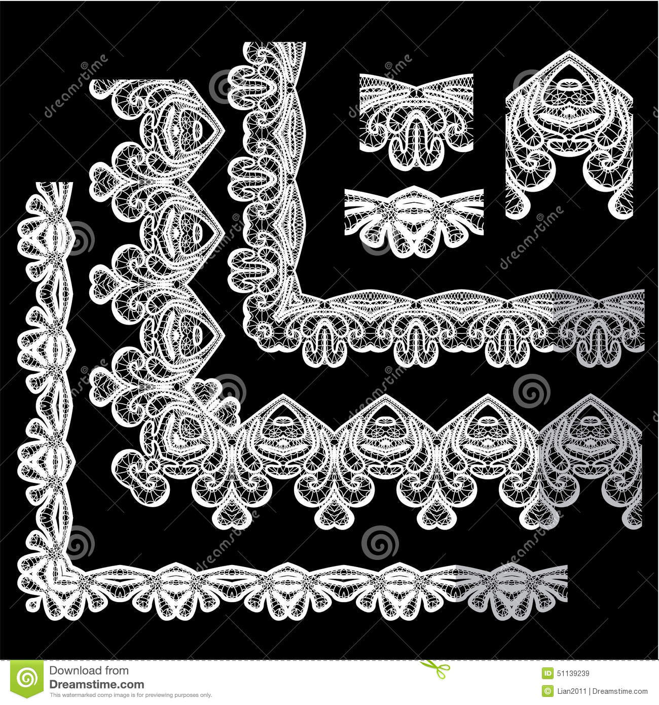 Frame Elements Set Different Lace Edges And Borders