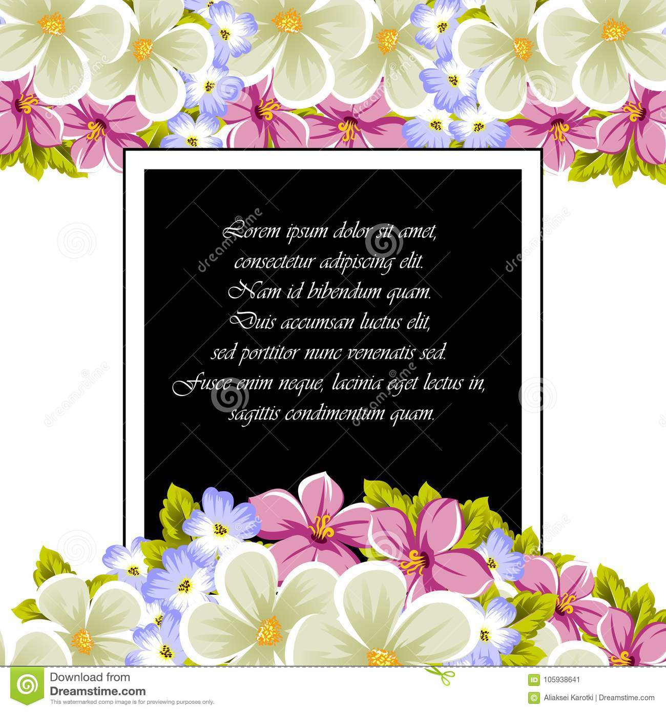 Frame Of A Few Flowers For Design Of Cards Invitations Greeting