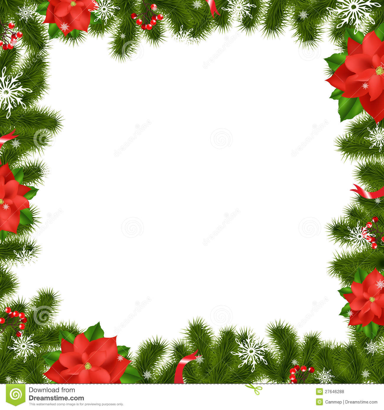 Frame fir tree branches with poinsettia royalty free stock for Poinsettia christmas tree frame