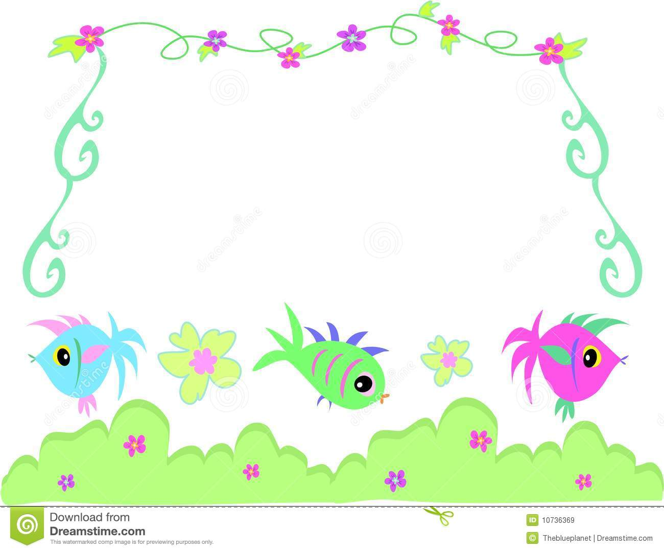 Frame of fish bushes flowers and vines royalty free for Fish photo frame