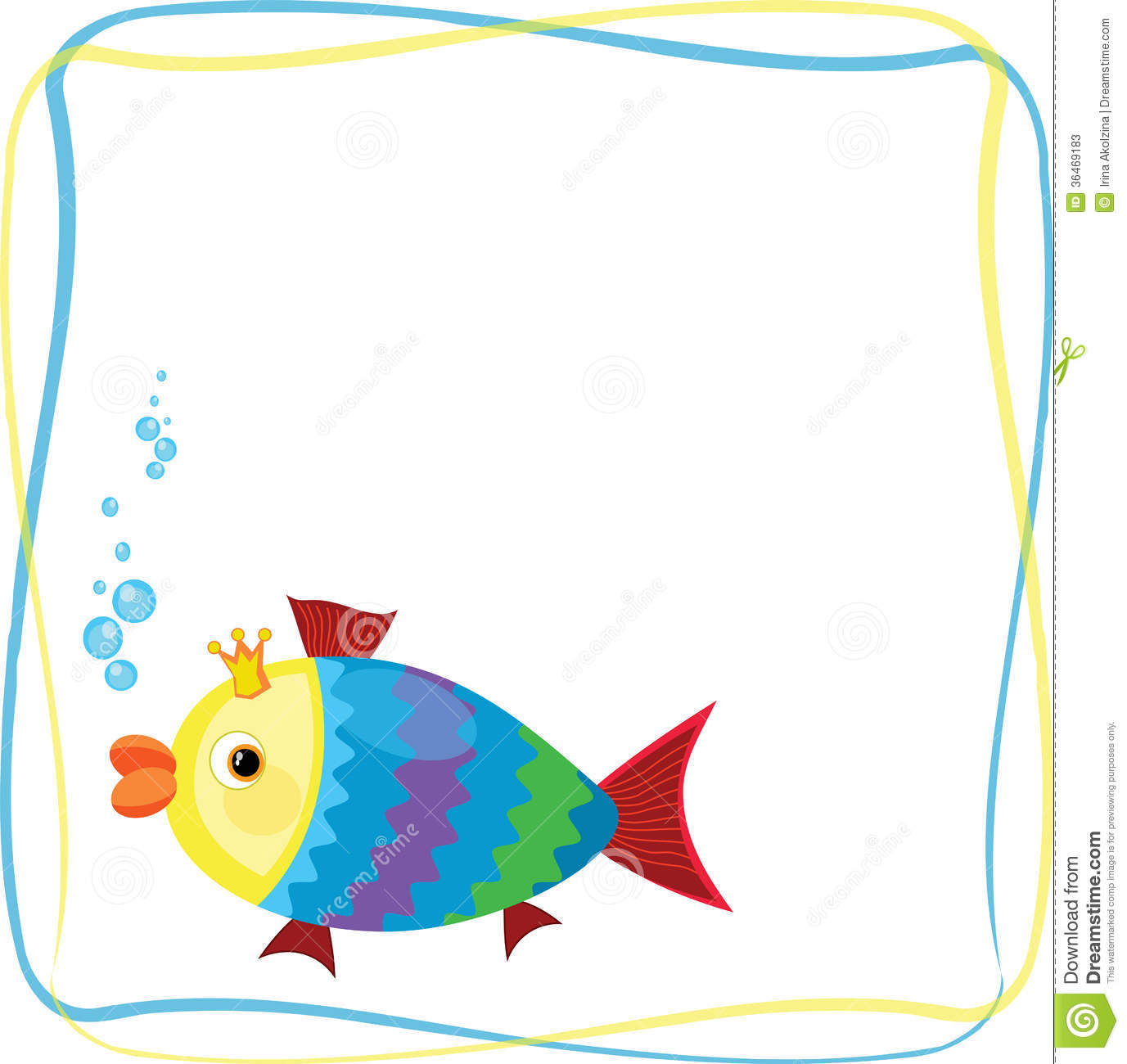 Frame with fish stock vector. Illustration of life, cartoon - 36469183
