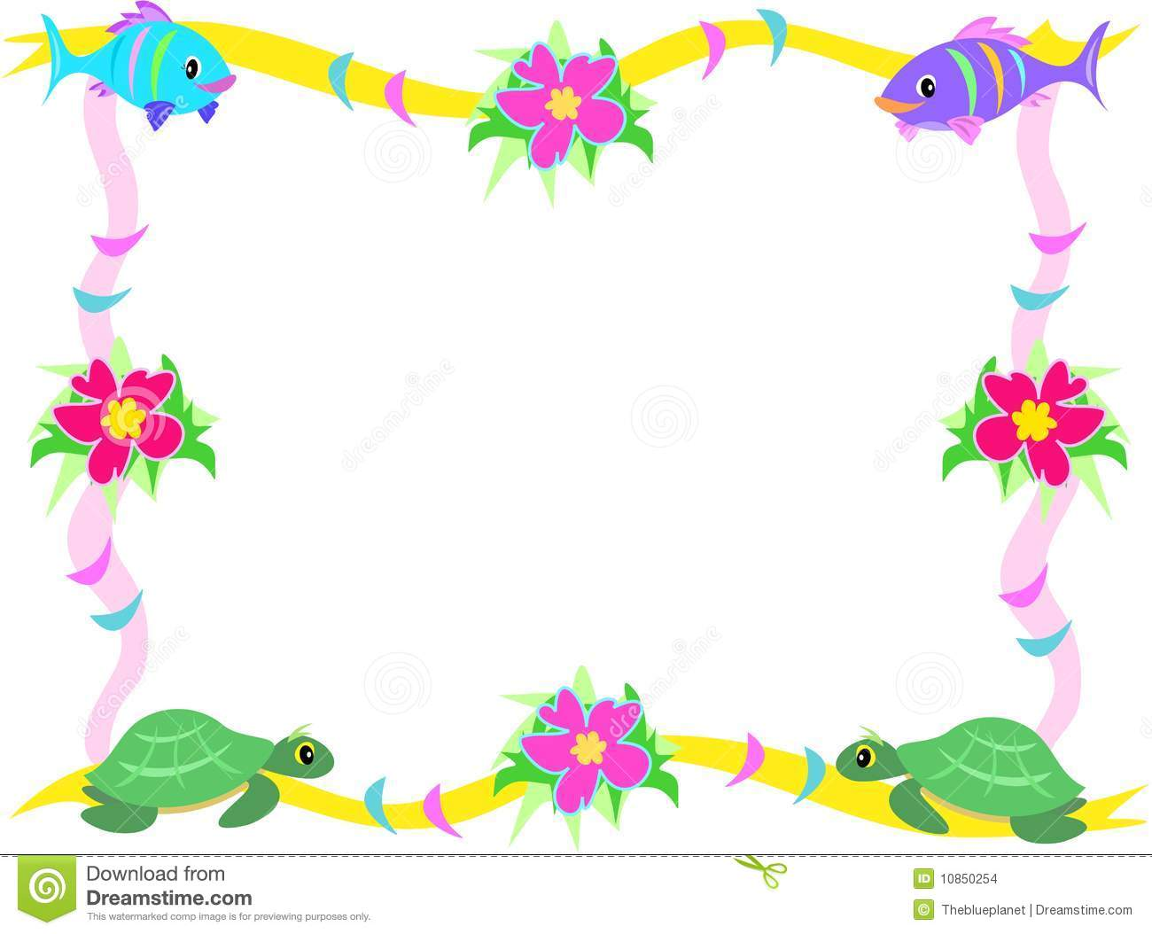 Frame of fish hibiscus and sea turtles stock vector for Fish photo frame