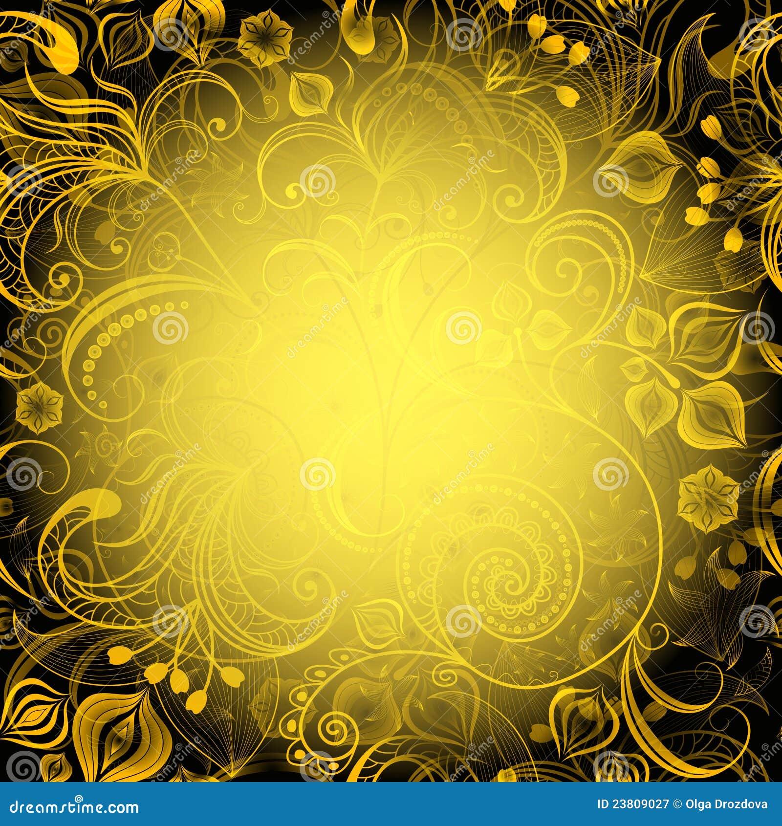 Armario Tela Aki ~ Frame Floral Amarelo preto Fotografia de Stock Royalty