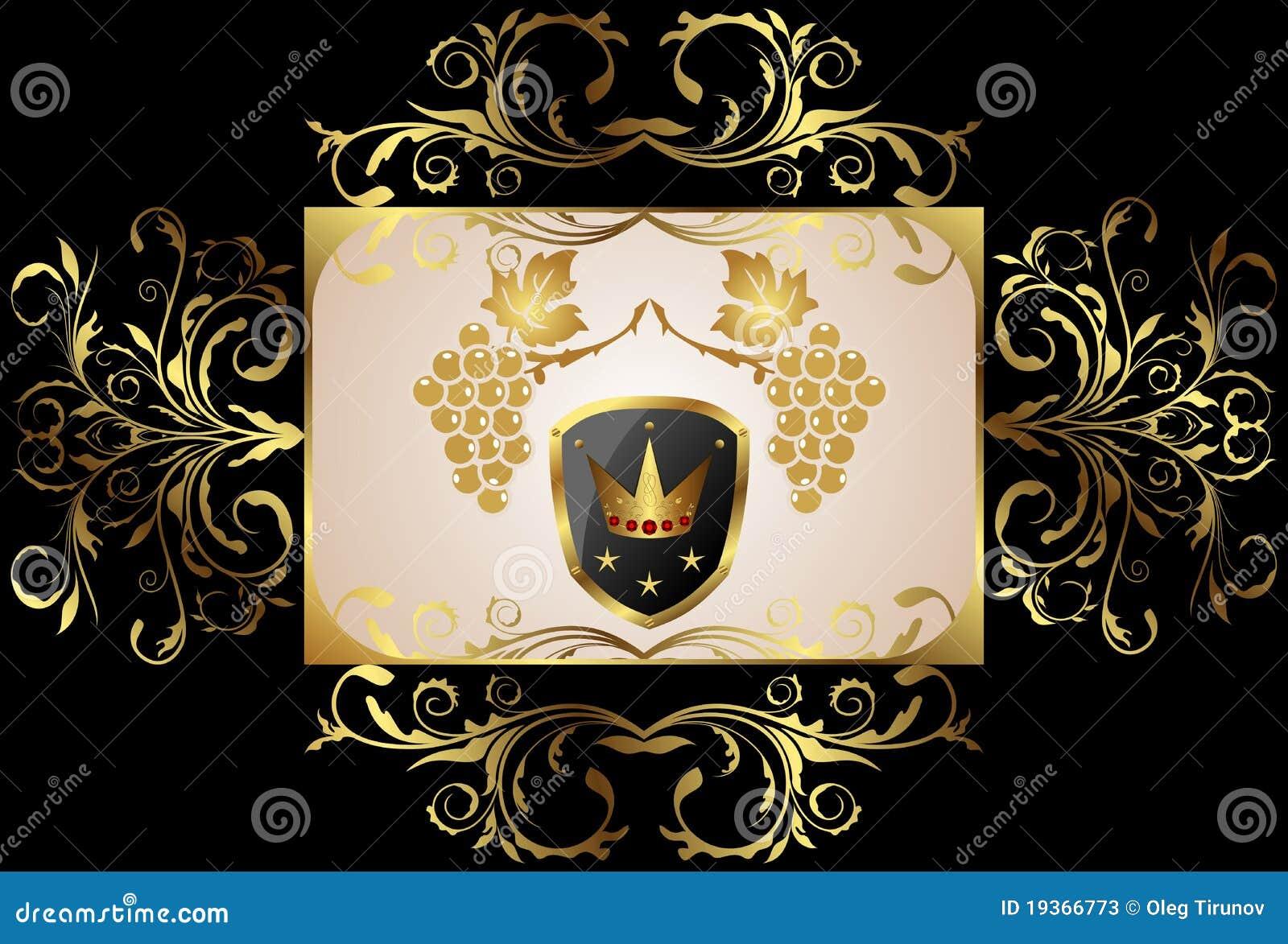 Frame floral dourado